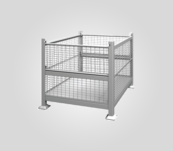 R2GW-01 Rigid, 2 Gate, Wire Mesh Steel Bin