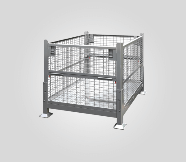 KD2GW-01 Knock Down, 2 Gate Wire Mesh Steel Bin